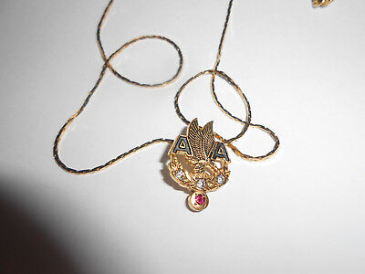 Vintage American Airlines Gold Plated Pendant With Aa Wings Faux Diamonds & Ruby