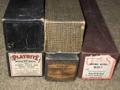 Vintage Lot of 5 Piano Rolls - Rare WOOD holder -  Various Brands - Nice