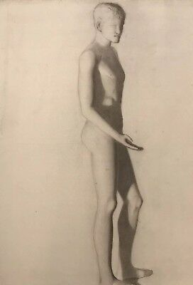 19Th Century French Realist Atelier Academie Drawing Roman Classical Male Nude