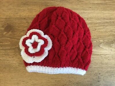 Hand Knitted Baby Girl  Beanie Hat Red Lacy Flower Sizes Newborn - 24 Mths New