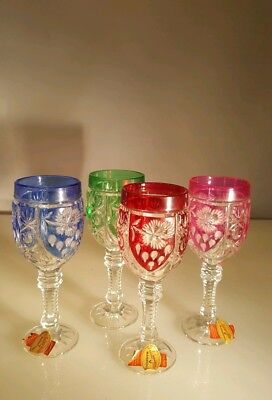 FOUR 1960'S VINTAGE COLORED   LEAD CRYSTAL  CORDIAL STEMWARE German