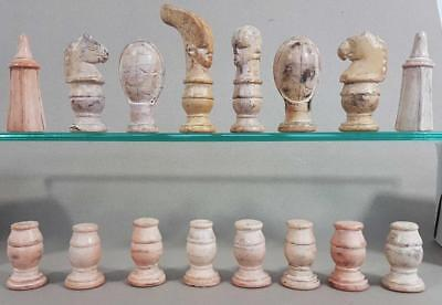 BEAUTIFUL VINTAGE AFRICAN CARVED SOAPSTONE CHESS SET Kings = 110mm TRIBAL FIGURE