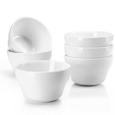 Sweese 1301 Porcelain Bouillon Cups - 8 Ounce Dessert Bowls for Cottage Cheese,
