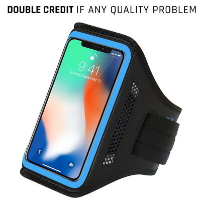 Running Armband for iPhone X and XS with Key Holder & Card Slot for - Blue