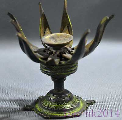 Chinese Collectable Bronze Hand Carve Tortoise Hold Lotus Usable Old Candlestick