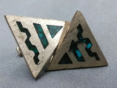 925 Alpaca Sterling Silver Triangle Turquoise Men's Cuff Links (710)