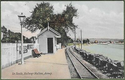 La Haule Railway Station, Jersey. Very Rare Postcard, Posted From Jersey in 1908