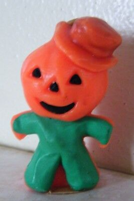 1 Vintage GURLEY CANDLE Halloween NEVER USED Scarecrow JOL HEAD Green
