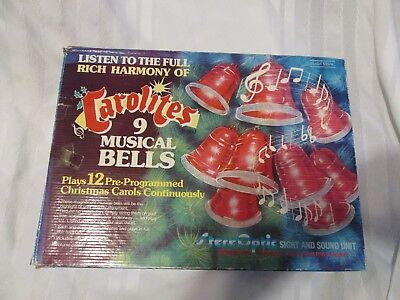 Vintage Set CAROLITES Christmas Music 9 Musical Bells IN ORIGINAL BOX 12 Carols