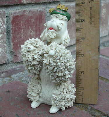 "Vintage Spaghetti Poodle Dog Figurine White Begging 5 3/4"" tall stamp S4528 Rare"