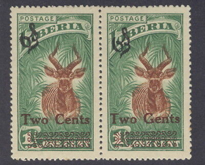 Liberia 1926, 2c on 1c antelope official, GENTS for CENTS error #O155, animal