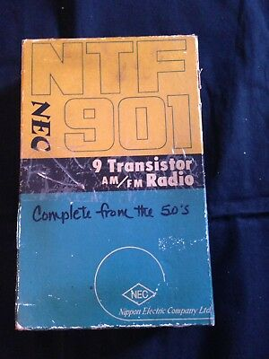 NEC 9 Transistor AM/FM Radio Model NTF 910 In Original Box, Plays Good