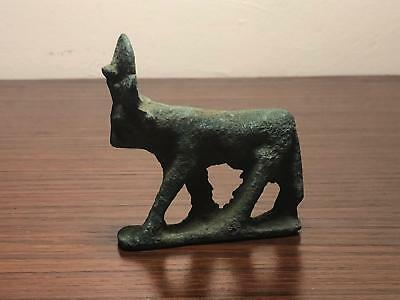 Ancient Egyptian bronze Hathor figurine, ptolemaic period (305-30 bc)