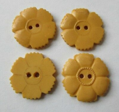 "Wonderful Lot of 4 Matching Antique~ Vtg Yellow Flower Bakelite BUTTONS 7/8"" (R)"