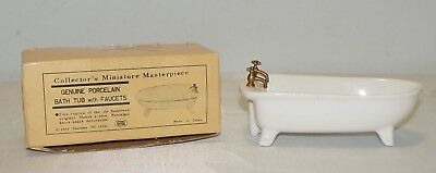 Vintage Genuine Porcelain Dollhouse Miniature Masterpiece Bath Tub & Faucets
