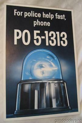 1950's Chicago Police Poster Emergency Pre-911 Call Letters Dial Phone PO5 1313