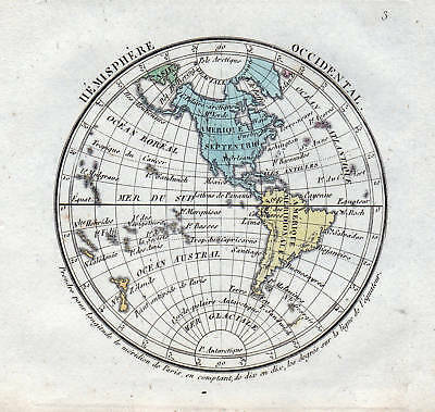 HÉMISPHÈRE OCCIDENTAL 1800 Karte World map carte Weltkarte America ...