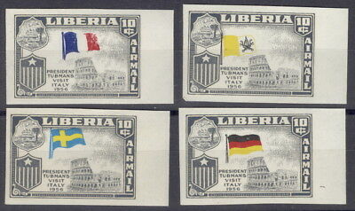 Liberia 1958, Visit to Italy, IMPERFORATE, FOUR with WRONG flags #C114