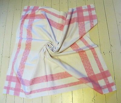 TABLE CLOTH 1960s Vintage White Pink Floral border DAMASK Square TABLECLOTH Gift