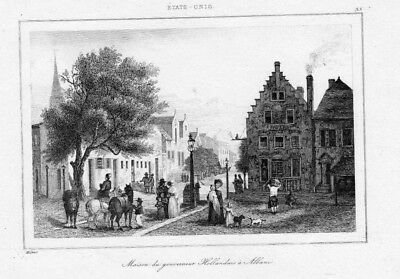 1840 - Haus Gouverneur Holland Albany America engraving Original Stahlstich