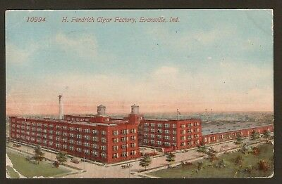 Collectible Vintage 1915 Postcard: H. Fendrich Cigar Factory, Evansville, IN