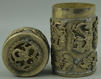 Exquisite Old Tibet Silver Copper Carve Myth Dragon Phoenix Rare Tobacco Box RT