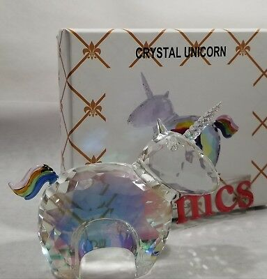 Simon Designs Clear & Iridescent Crystal Unicorn Paperweight / Figurine New
