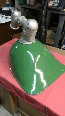 Vintage HUGE APPLETON Industrial Green Porcelain Gas Station ISLAND Light