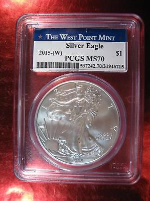2015 (W) PCGS MS 70 American Silver Eagle West Point Mint - Strong year to find