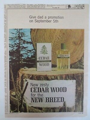 Vintage advertising original 1965 Australian ad CEDAR WOOD AFTERSHAVE