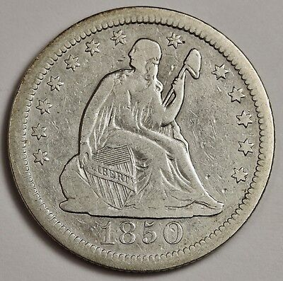 1850 Liberty Seated Quarter.  About V.F.  132664