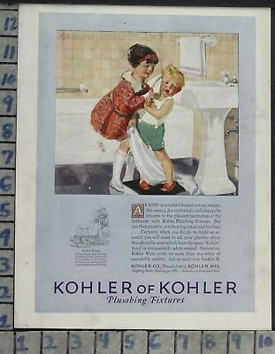 1926 Home Decor Bathroom Kohler Sink Bath Tub Illus Henry Art Vintage Ad Cp78