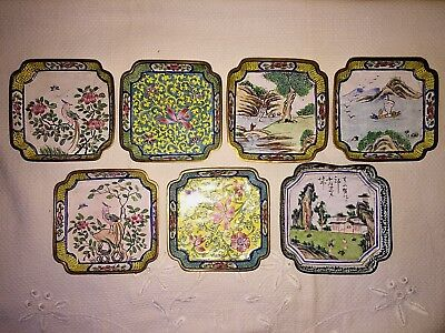 6  Vintage & 1 Antique Chinese Enameled Hand Painted Pin Trinket Dishes