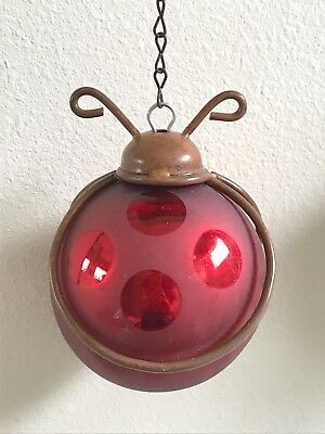 Large Mercury Glass Red Ladybug Garden Hanging Ball Ornament Copper Metal