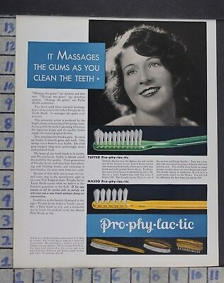1930 Dentistry Medical Prophylactic Bristle Toothbrush Beauty Vintage Ad Dm81