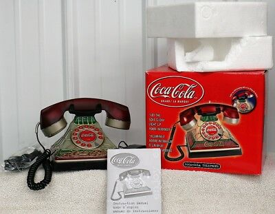 Coca-Cola Coke Tiffany Style Stained Glass Look Light-Up Push Button Telephone