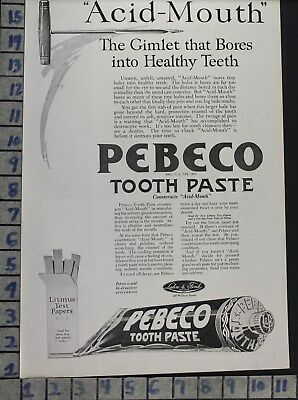 1920 Pebeco Paste Dental Dentist Hygienist Tooth Health Vintage Art Ad  Bv79