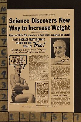1936 Ironized Yeast Weight Muscle Fitness Medical Cure Health Vintage Ad  Zf65