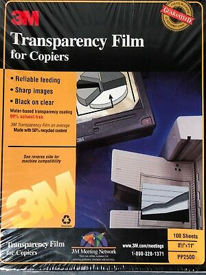 """Transparency Film For Copiers 3M PP2500  8 1/2"""" x 11"""" 100 Sheets New Sealed Pack"""
