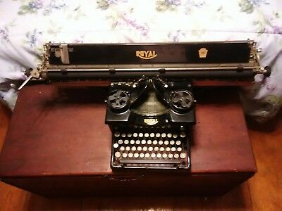 1914 Antique Royal 10 Typewriter Beveled glass Long Ledger Carriage Super RARE!