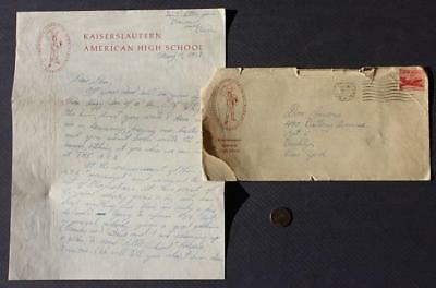1958 Kaiserlautern American High School in Germany letter & envelope-CONTENT!