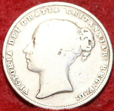 1859 Great Britain Shilling Silver Foreign Coin