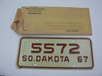 """South Dakota Motorcycle Cycle License Plate """" Mu  0634 """" Sd Great Faces Places"""