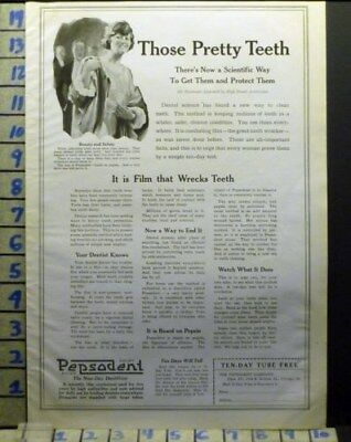 1920 Pepsodent Tooth Paste Dental York School Girl Brush Health Art Ad  Av14