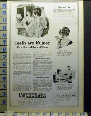 1920 Pepsodent Tooth Paste Dental Dentist Brush Teeth Health Art Ad  Av11