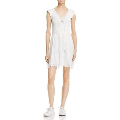 Joie Womens White Special Occasion Fit & Flare Crochet Party Dress L BHFO 5693