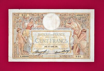 "SCARCE 100 Francs 1935 FRANCE -FANCY NOTE - ""BINARY"" (P-78c) - Very Collectible"
