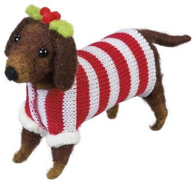 Primitive Country Folk-Art Felted Wool Dachshund With Sweater