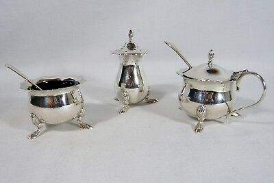 Antique STERLING Silver 3 pce CONDIMENT SET  OPEN SALT PEPPER &  MUSTARD POT