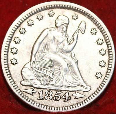 1854 Philadelphia Mint Silver Seated Liberty Quarter with Arrows